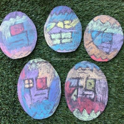 Chalk Eggs Glue Resist Literacy Activity for Kids! (VIDEO)