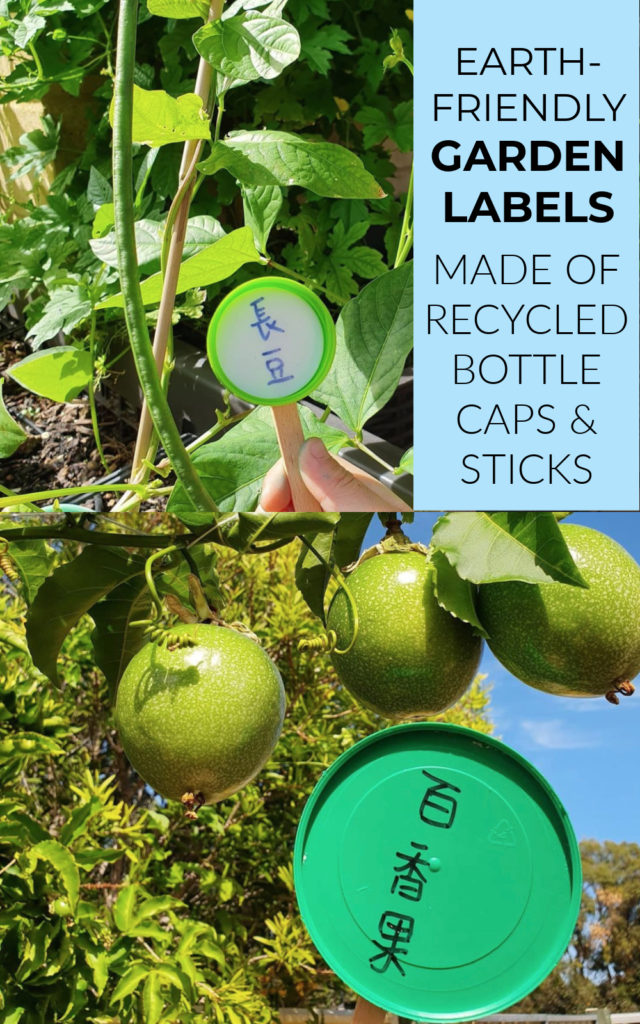 Earth friendly garden labels - recycled bottle caps and sticks