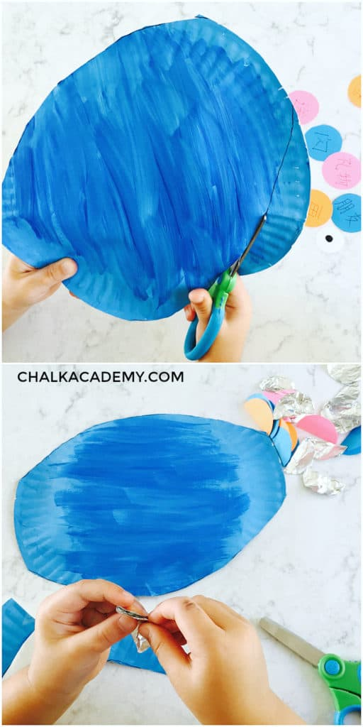 Cutting paper plate and folding foil circles