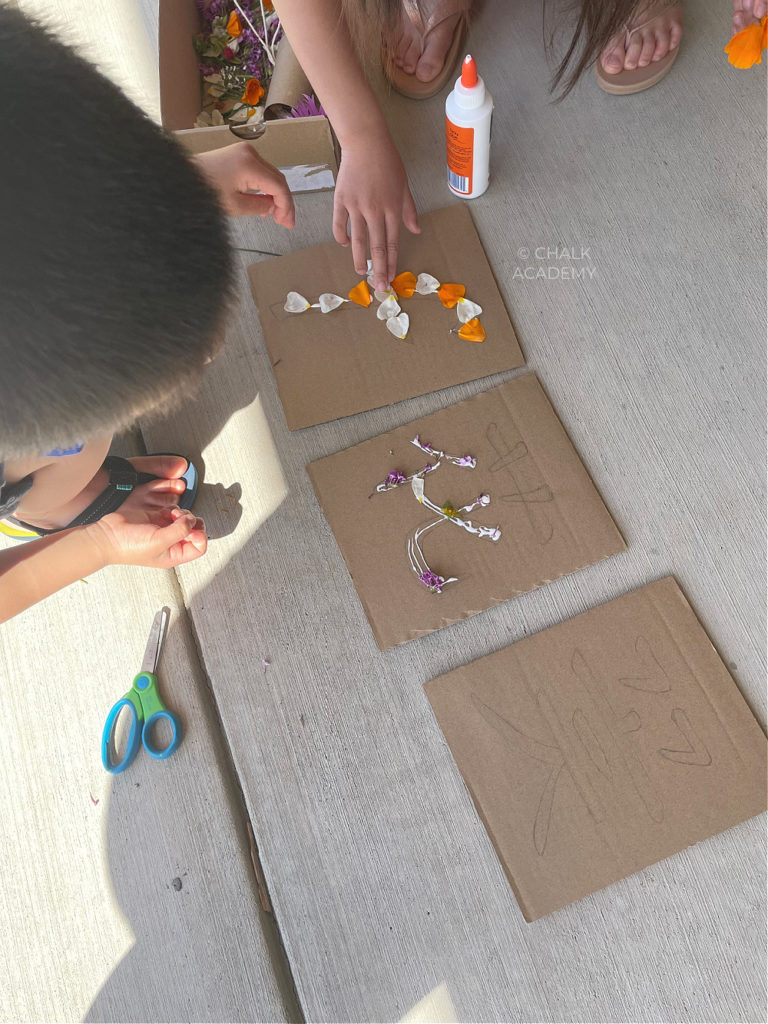 decorating and writing English alphabet letter F with flowers
