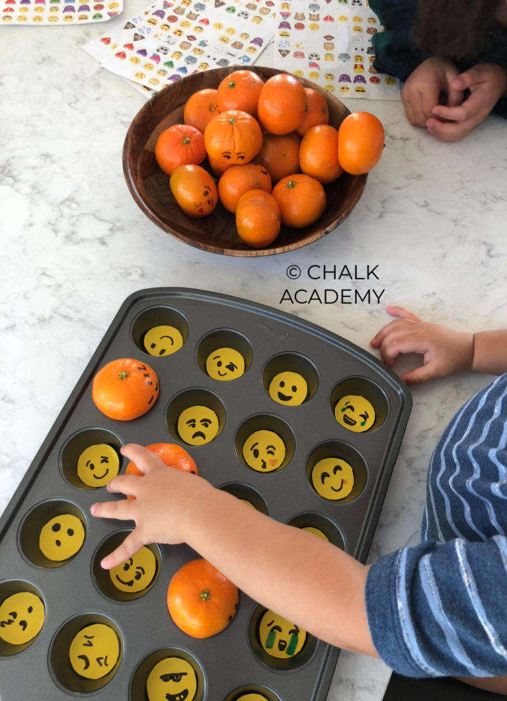 Emoji clementines - healthy snack and matching activity