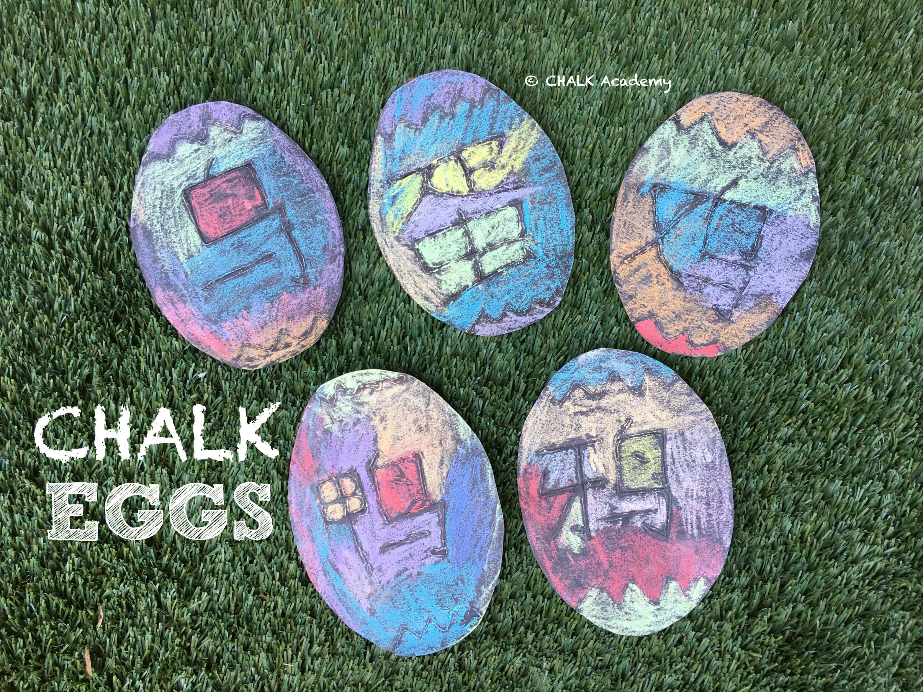 CHALK EGGS - Fun Kid's Activity with Glue, Black Paper and Chalk!