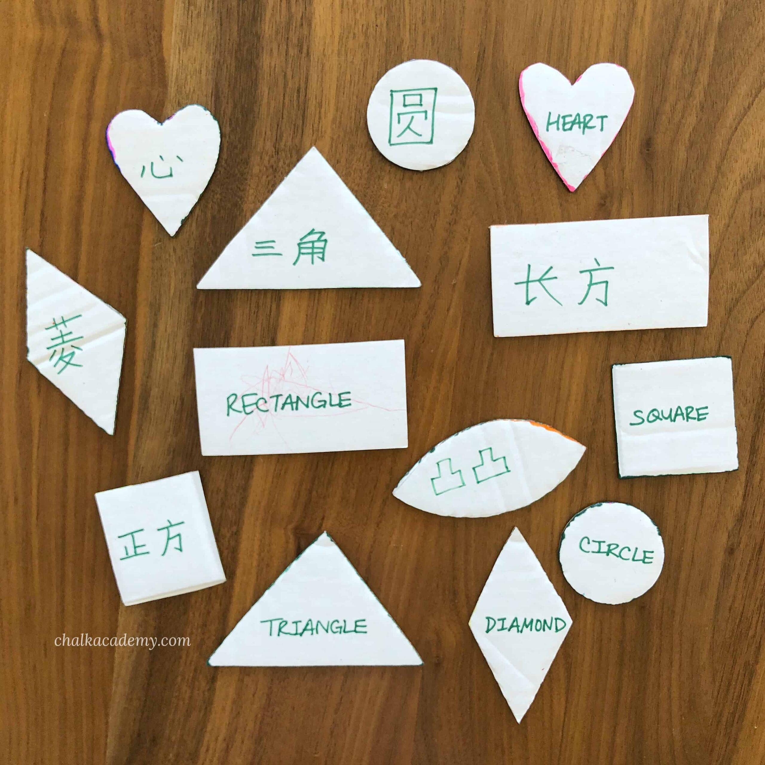 How to Make and Teach with Bilingual Cardboard Shape Templates