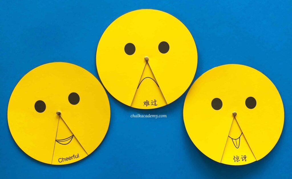 Free printable spinning emoji wheel! English and Chinese