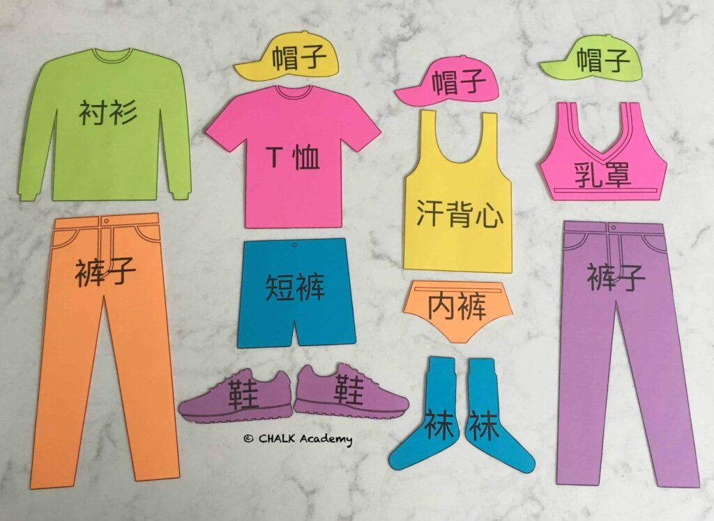 Clothing Flashcards for Pretend Play & More - Free Printable in Chinese, Korean, and English