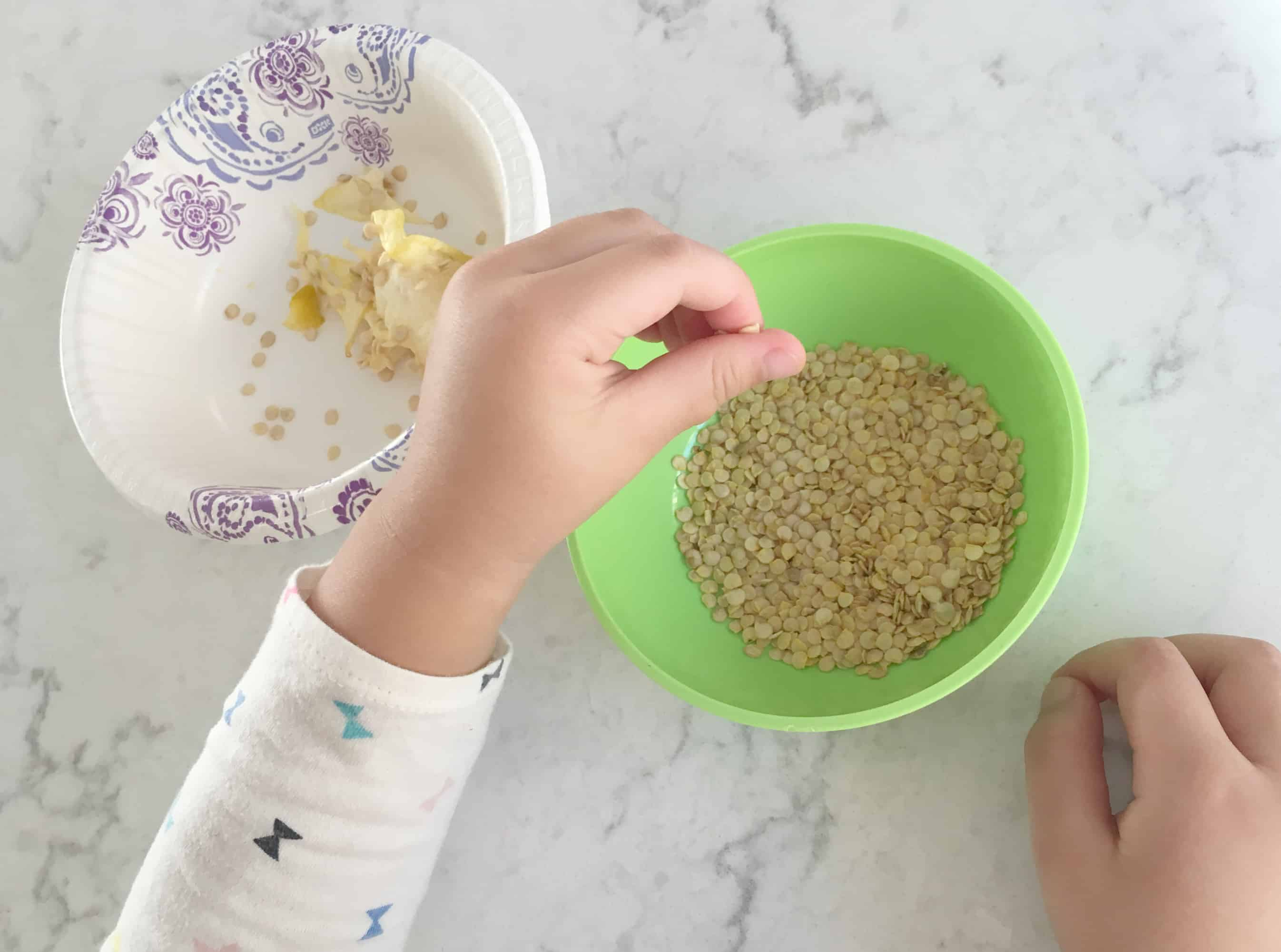 Pepper seeds fine motor skills activity for young children - Montessori inspired activity