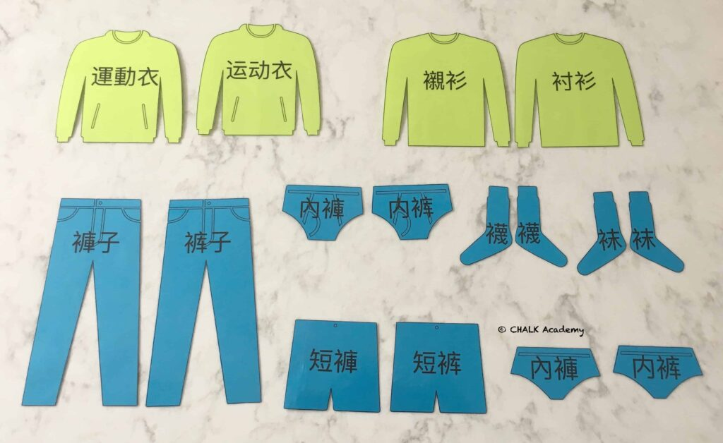 Simplified Chinese and traditional Chinese clothing flashcards