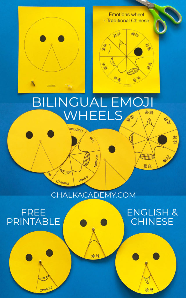 Spinning emoji wheels - free printable in Chinese and English