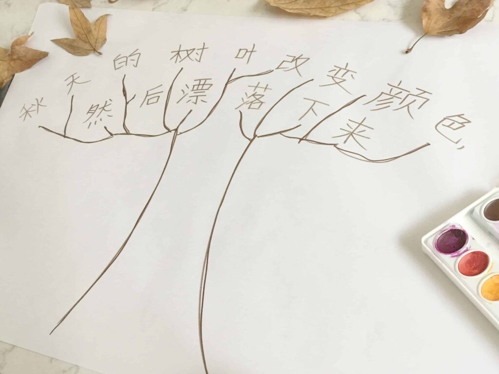 Leaf Painting Literacy Activity