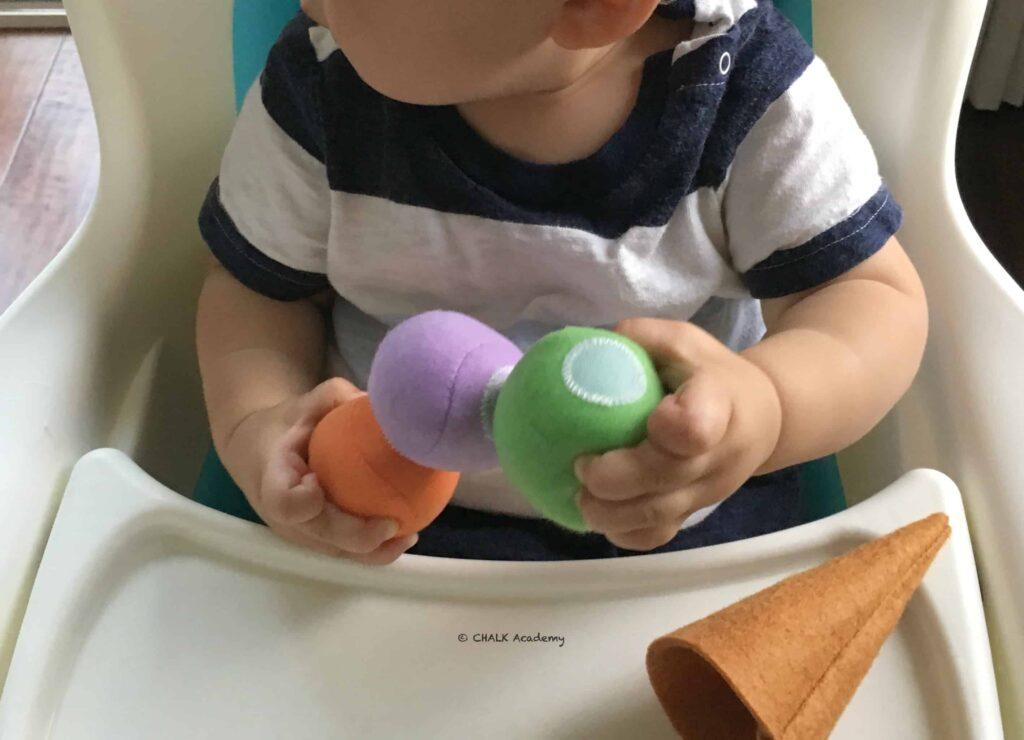 巧虎 (Qiaohu, Ciaohu) felt ice cream toy with Velcro