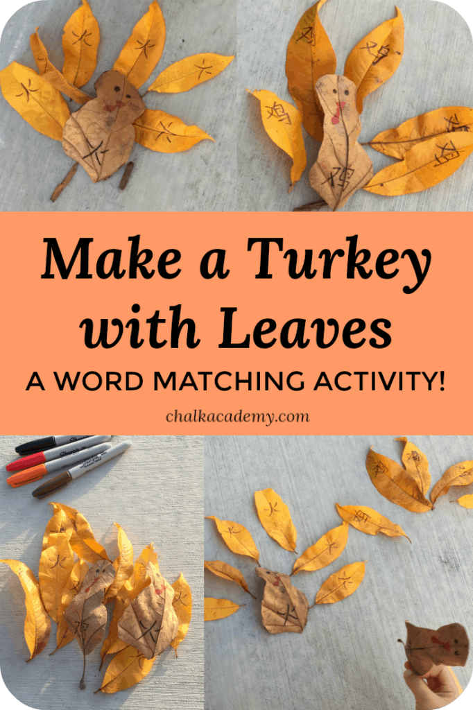 THANKSGIVING TURKEY WITH LEAVES - chinese word matching game