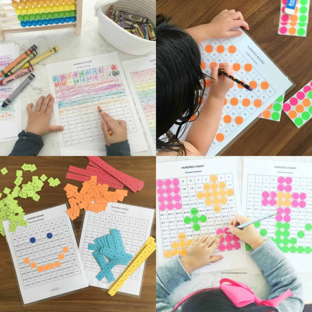 Hundred Chart in Chinese, English, and Korean - fun ways for children to learn counting and basic math