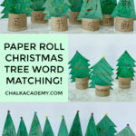 paper roll Christmas tree word matching craft in Chinese, English, Korean