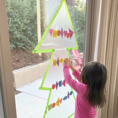 Contact Paper Christmas Tree with Shape Ornaments!
