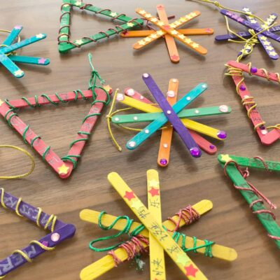 Easy-to-DIY Trilingual Craft Stick Ornaments!