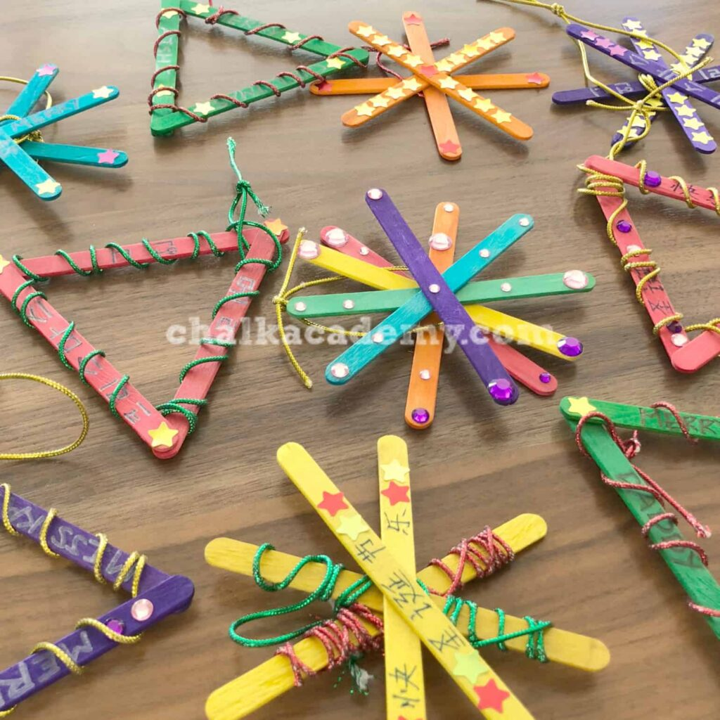 Craft stick ornaments trilingual