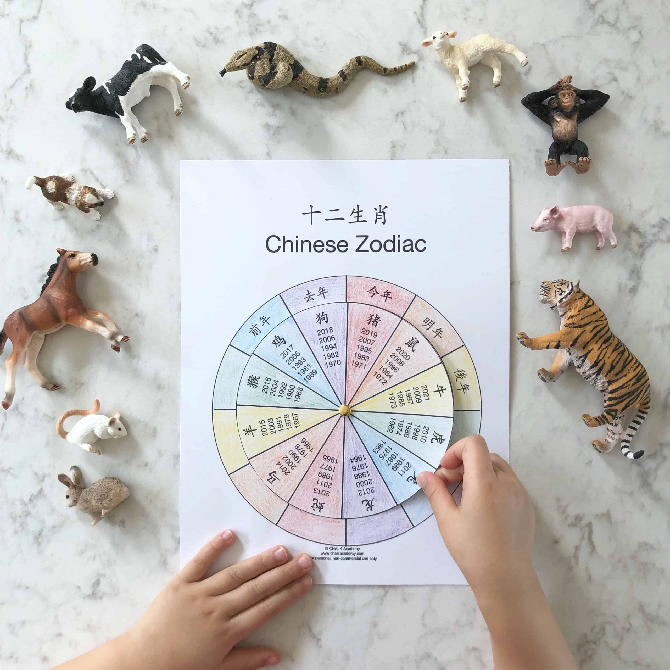 Chinese Zodiac Wheel – Free Interactive Printable in Chinese and English! (VIDEO)