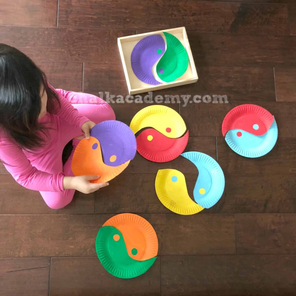 Yin-Yan Paper Plate Puzzle Craft