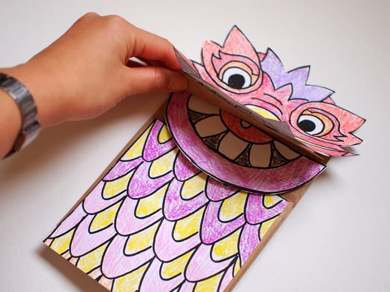 Paper Bag Dragon Puppet Template Printable for Chinese New Year