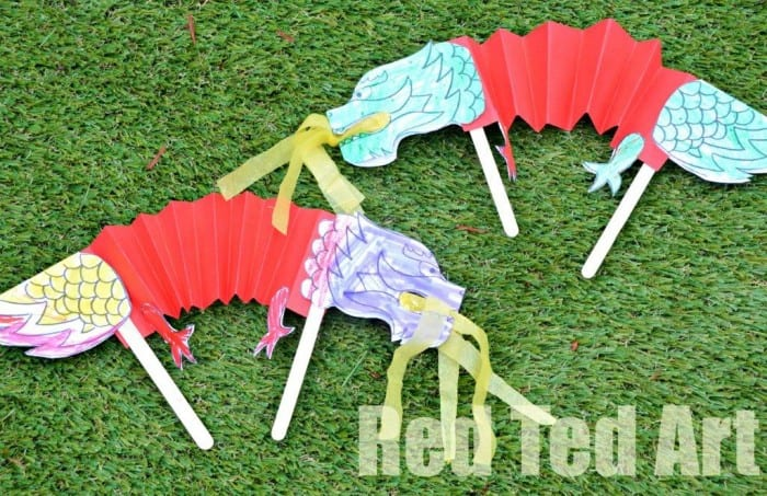 Chinese New Year Dragon Puppet Printable from Red Ted Art