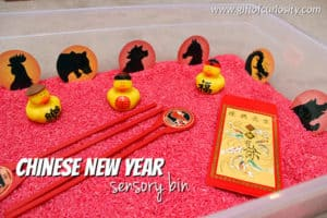 Chinese New Year Sensory Bin Red Rice Lucky Envelopes