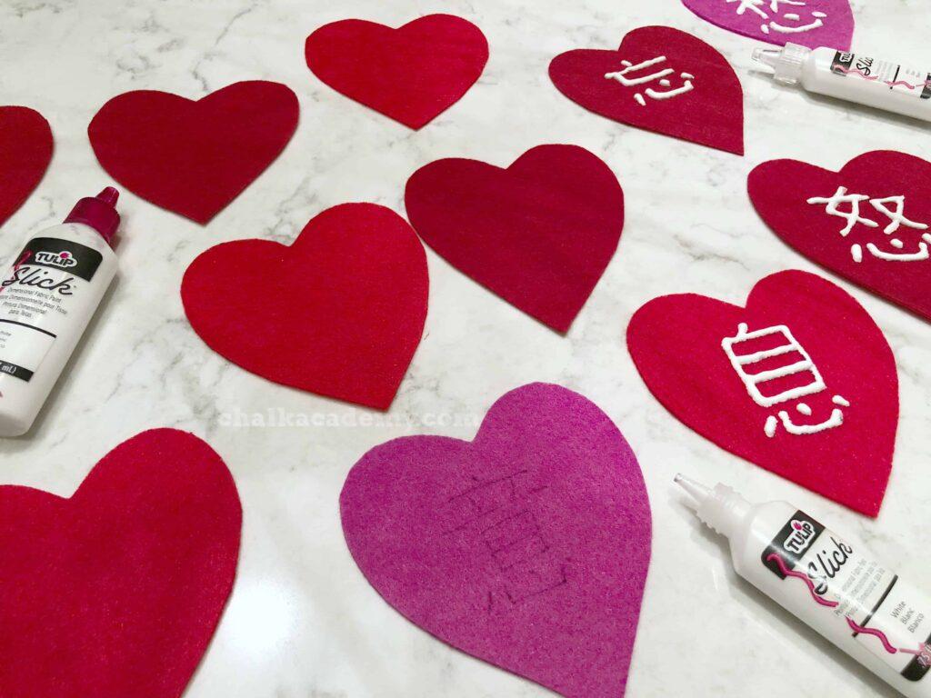 Learning Chinese 心 (heart) radical - felt valentines