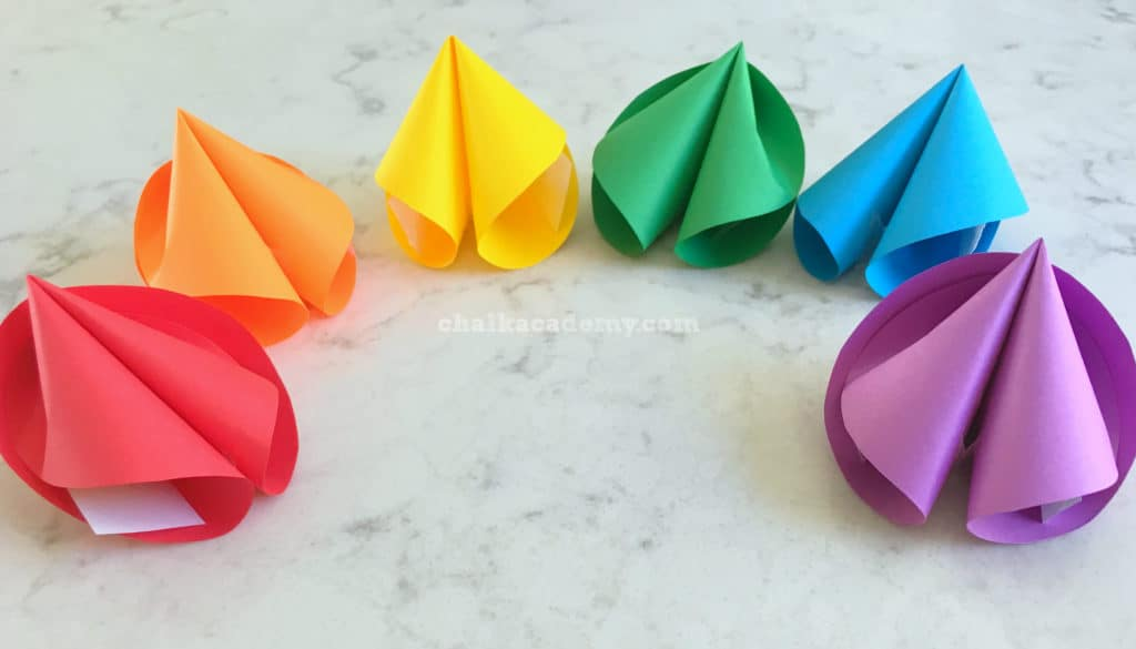 perfect paper rainbow fortune cookies - red, orange, yellow, green, blue, purple!