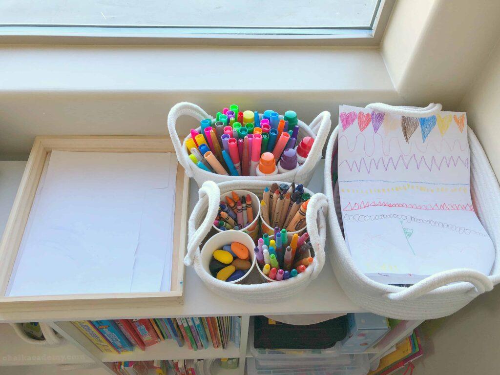 Homeschool tour and organization - art storage in baskets