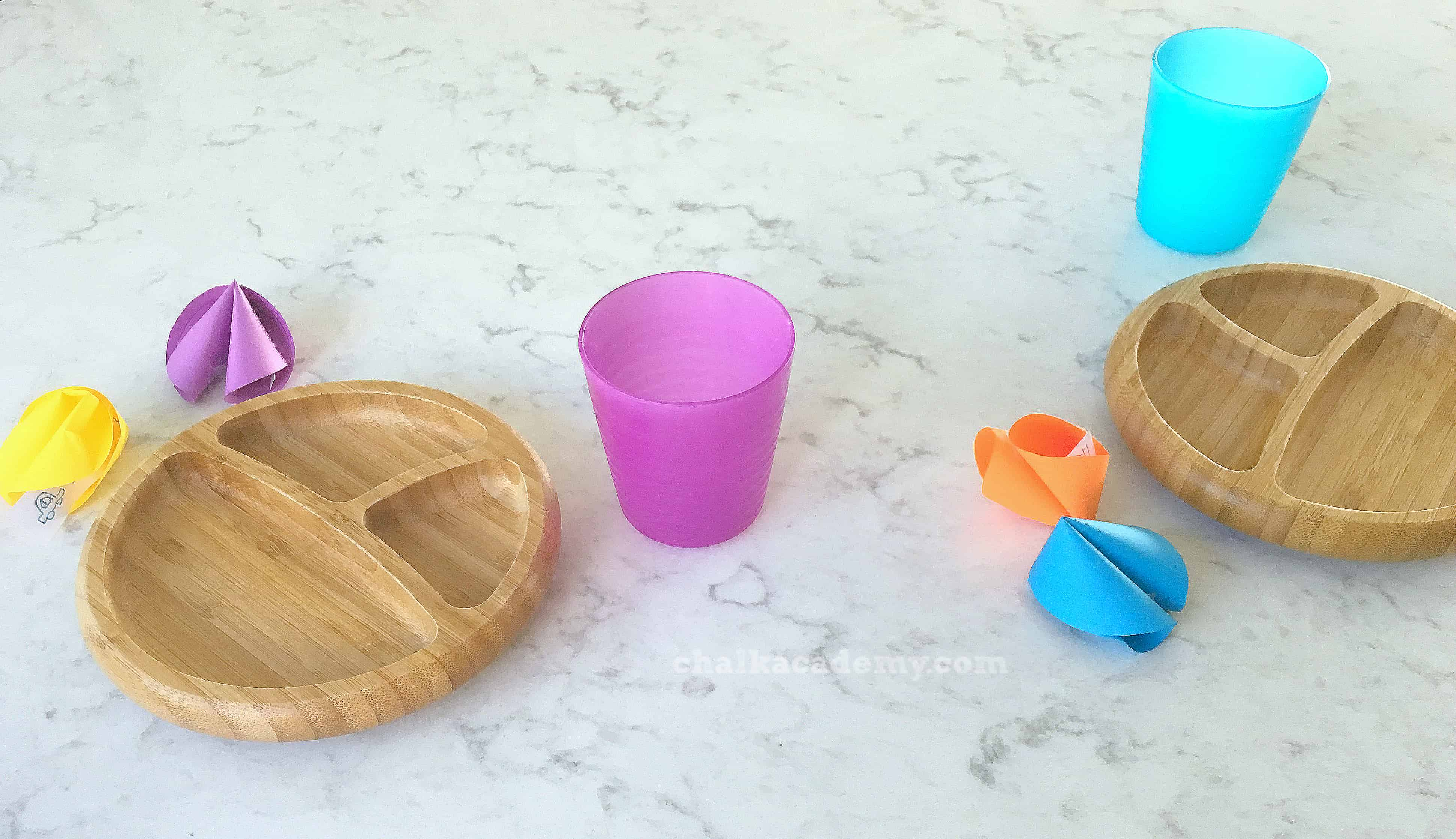 rainbow fortune cookies with divided bamboo plates and colorful cups