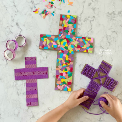 3 Cardboard Cross Craft Decorations for Easter