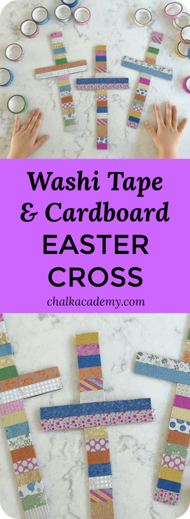 washi tape wrapped cardboard Easter cross craft for kids