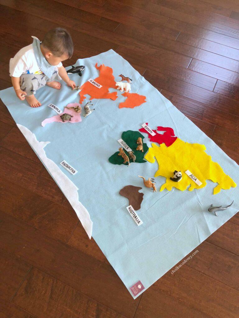 Montessori Felt Map of World Continents