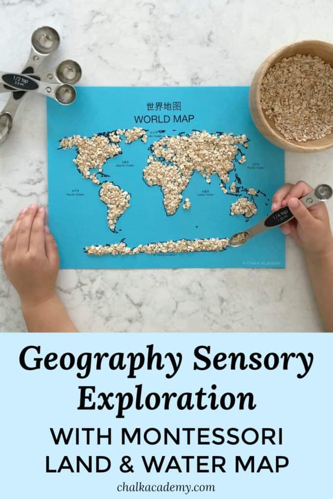 Geography sensory exploration Montessori land and water map