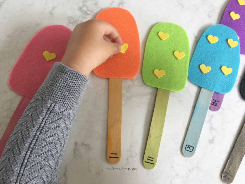 Number matching popsicles - hands-on learning for kids!