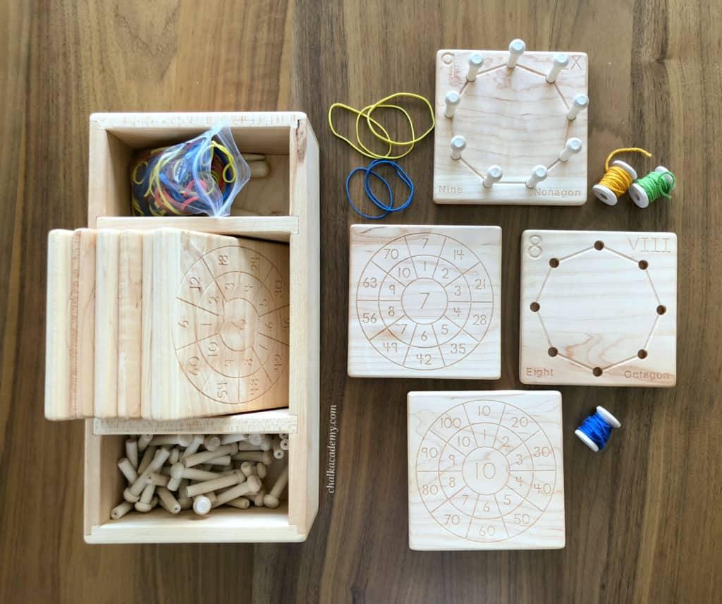 Wood geometry and multiplication board Montessori