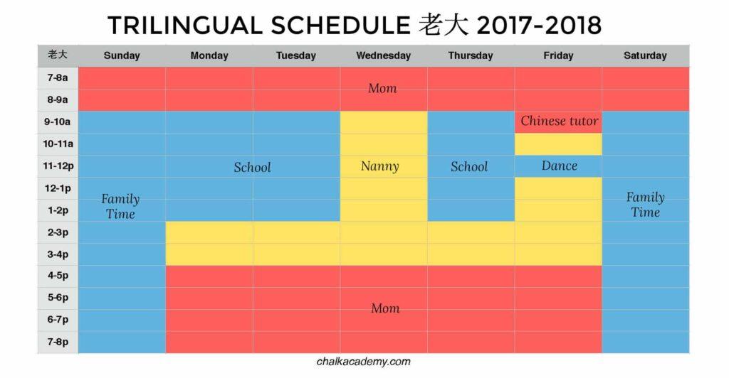 Trilingual schedule