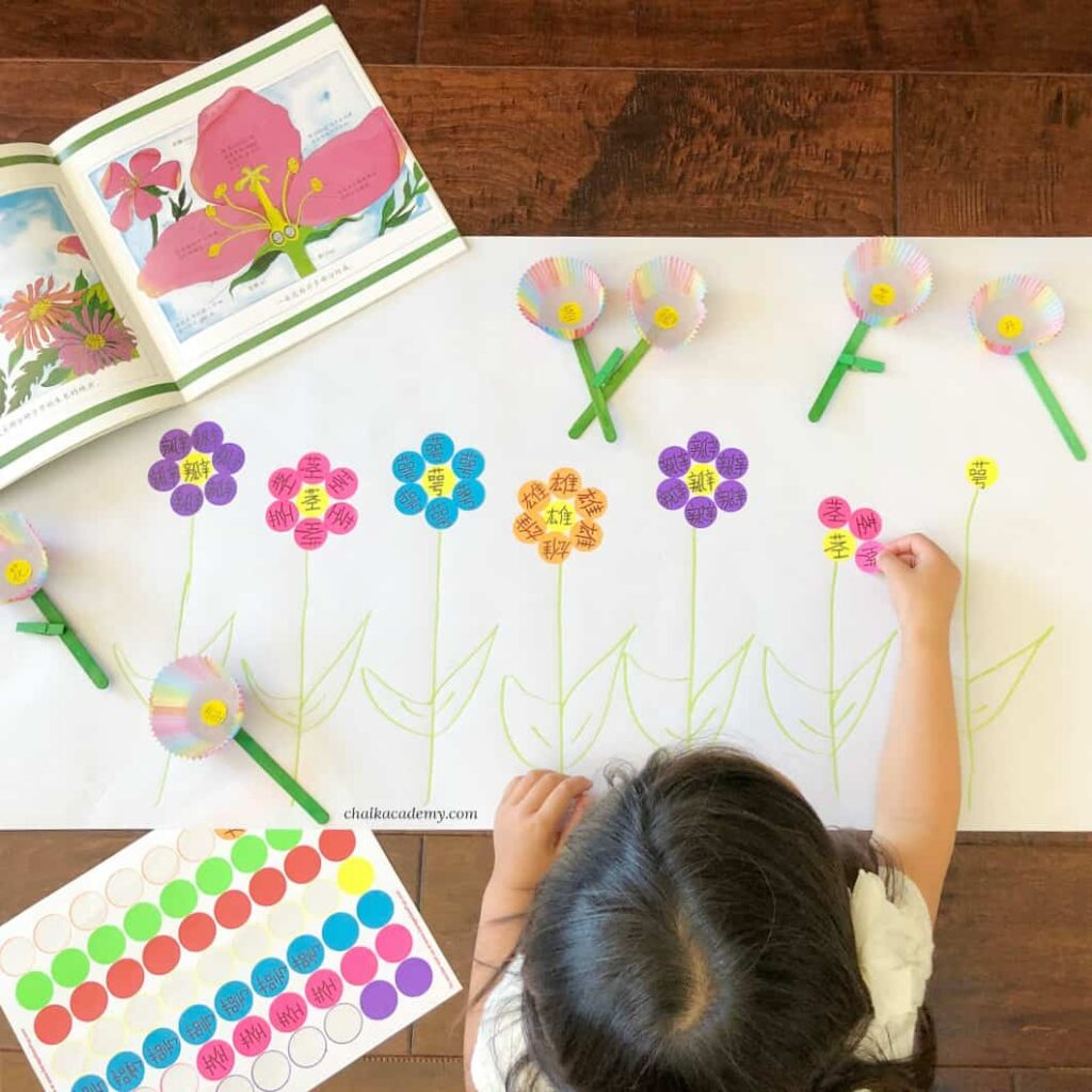 Parts of a Flower Dot Sticker Activity