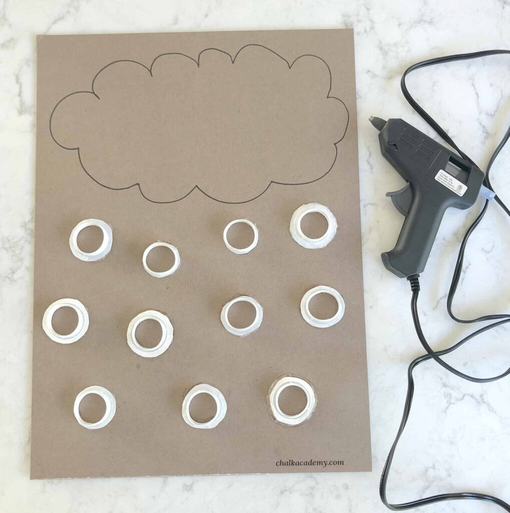 Bottle cap raindrops cloud literacy and sight words activity