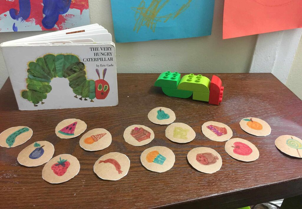 Very hungry caterpillar book activity for children