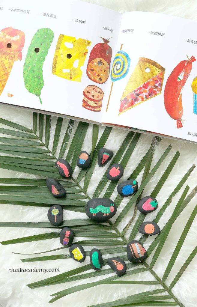 The Very Hungry Caterpillar Story Stones - Bilingual Book-Based Activity - Very Hungry Caterpillar Chinese