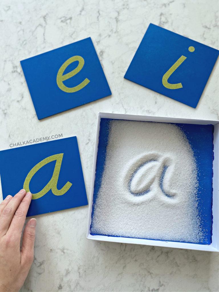 English alphabet Montessori sandpaper boards, salt writing tray with box lid