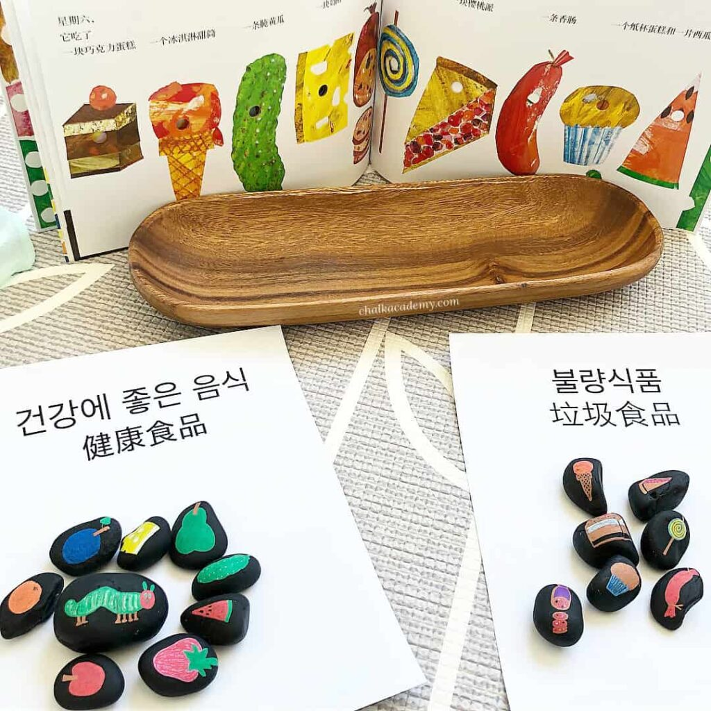 The Very Hungry Caterpillar Story Stones - Bilingual Book-Based Activity - Very Hungry Caterpillar Chinese & Very Hungry Caterpillar Korean