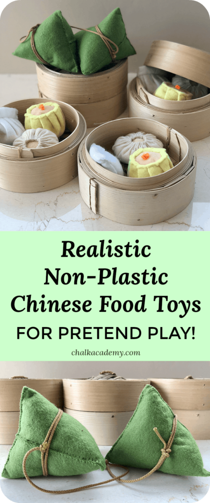 Realistic Non-Plastic Chinese Play Food for Kids - Dim sum, stick rice dumplings, bamboo steamers