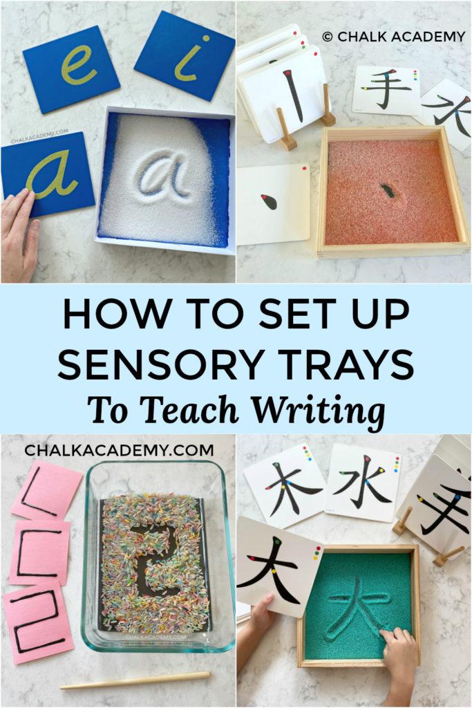 how to set up sensory writing trays to teach kids writing