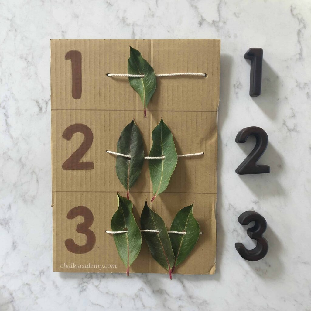 Nature leaf abacus to teach counting