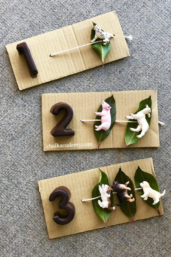 Nature leaf abacus to teach counting Schleich animals sleeping