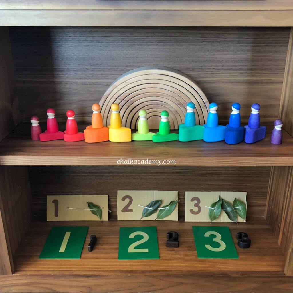 Montessori inspired bookshelf for preschool toddler