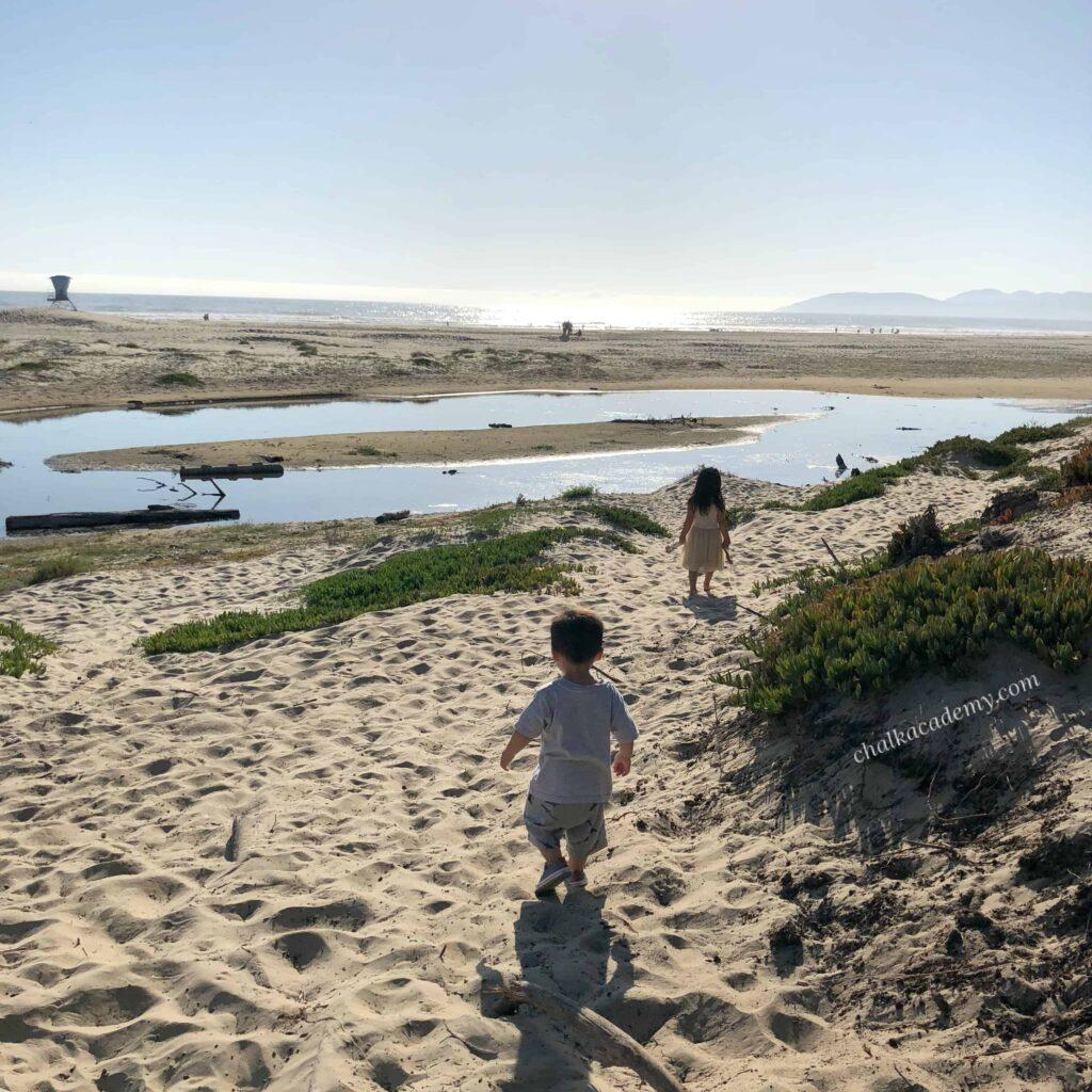 Kids at a beach in California!