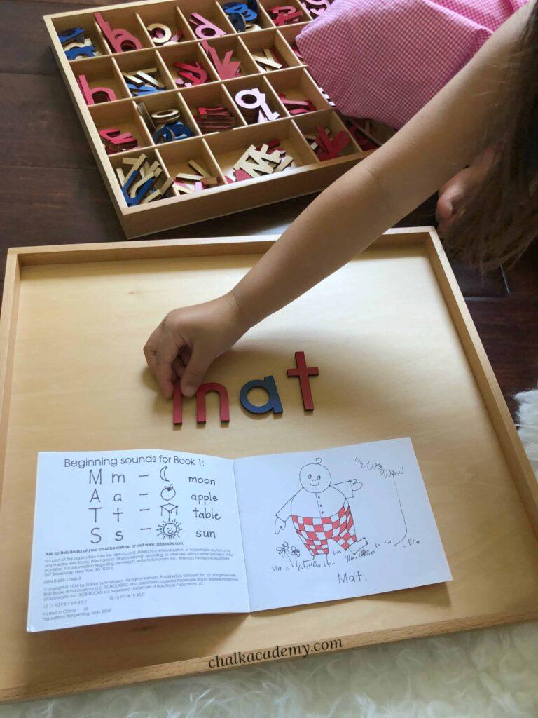 Montessori moveable alphabet and Bob books