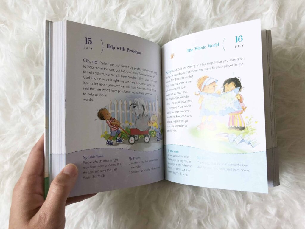 One Year Devotions Book for Preschoolers with both kids